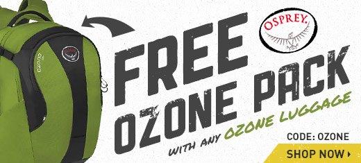 Free Osprey Daypack with any Osprey Ozone Luggage