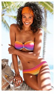 Buffalo Pink Striped Bandeau Bikini £45