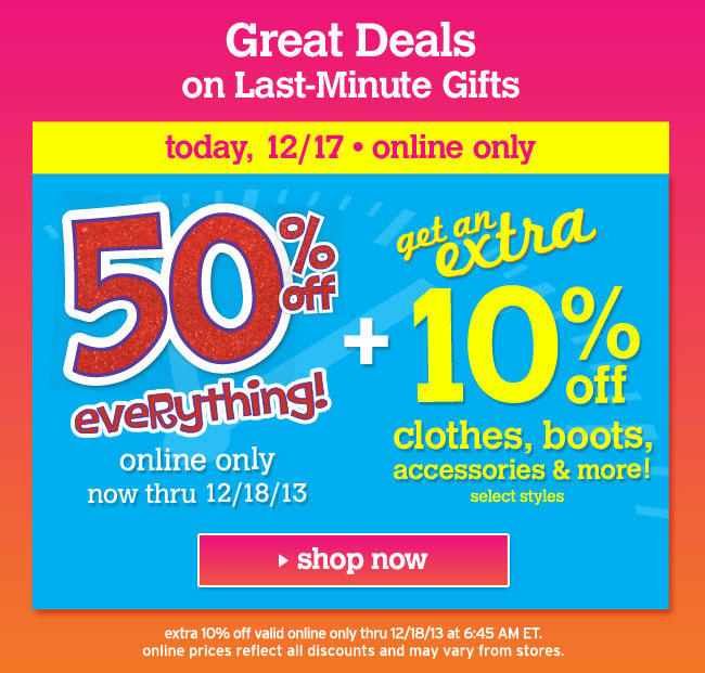 extra 10% off clothes, boots accessories & more