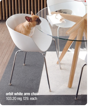 orbit white arm chair 103.20 reg 129.  each