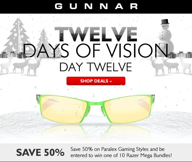 Last Day! 50% off Paralex glasses plus entry into the ultimate Razer Gaming prize giveaway