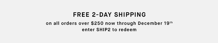 FREE 2-DAY SHIPPING on all orders over $250 now through December 19th - enter SHIP2 to redeem