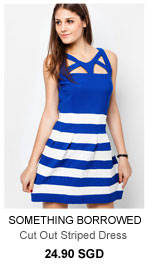 SOMETHING BORROWED Cut Out Striped Dress