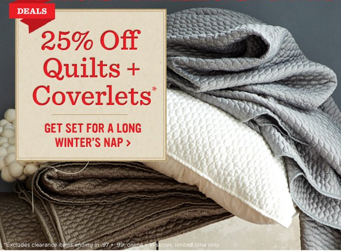 25% off quilts + coverlets*. Get set for a winter's nap.