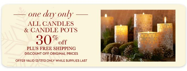 ALL CANDLES & CANDLE POTS 30% off
