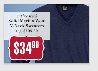 $34.99 USD - Solid Merino Wool V-Neck Sweaters