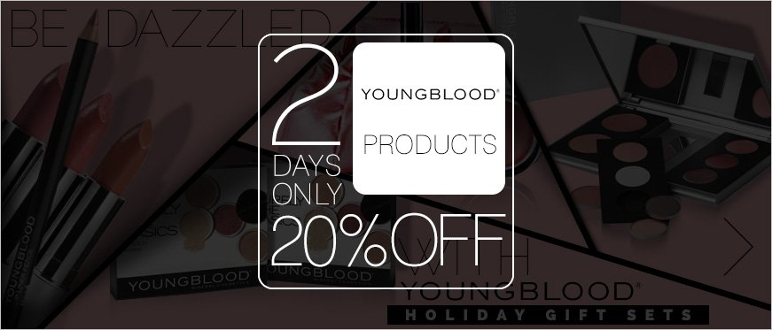 20% Off on Youngblood - 2 Days Only + Be Dazzled with Youngblood Great Holiday Gift Sets