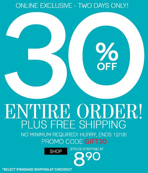 'Tis the day to shop...30% off & FREE SHIPPING!