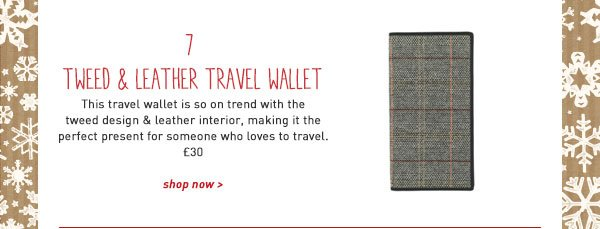 tweed and leather travel wallet