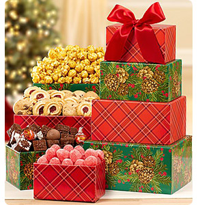 Pinecones & Plaid Festive Sweets Gift Tower Shop Now
