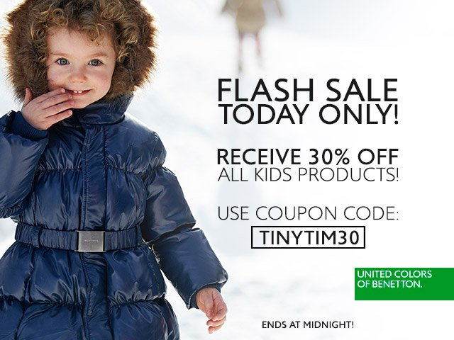 FLASH SALE. Save 30% off Kid's collections. Today only!