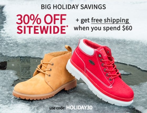 Big Holiday Savings – 30% plus Free Shipping starts now!