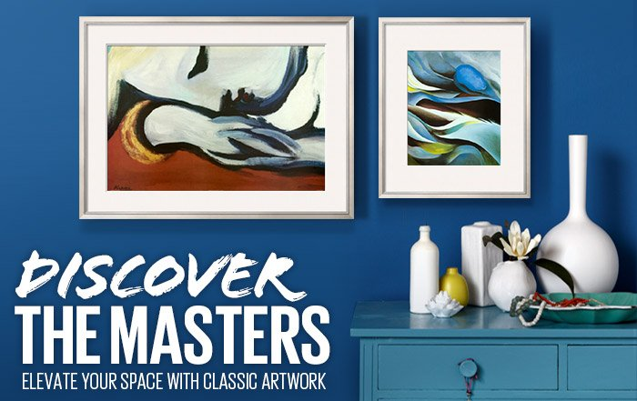 DISCOVER THE MASTERS - ELEVATE YOUR SPACE WITH CLASSIC ARTWORK - SHOP NOW - Rest By: Pablo Picasso; From the Lake I By: Georgia O'Keeffe