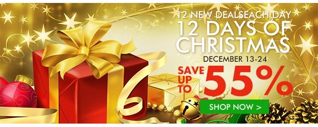 12 NEW DEALSEACH DAY 12 DAYS OF CHRISTMAS DECEMBER 13-24 SAVE UP TO 55% SHOP NOW>