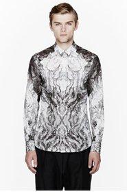 ALEXANDER MCQUEEN Grey wood grain print shirt for men