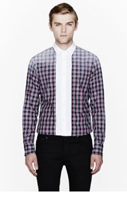DSQUARED2 Navy plaid wired collar contrast bib shirt for men