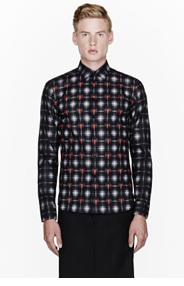 GIVENCHY Black and red arrowhead plaid shirt for men