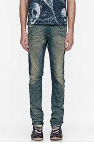 DIESEL Blue faded & wrinkled TEPPHAR jeans for men