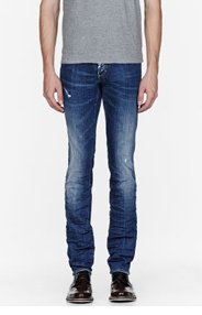 DSQUARED2 Blue distressed and wrinkled Slim Jeans for men