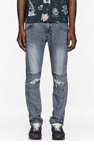 FACETASM Black Patchworked Denim Mix Pants for men