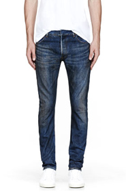 BALMAIN Blue smudged slim jeans for men