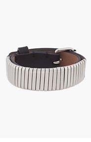 LANVIN Silver & Leather Buckled Bracelet for men