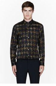 PAUL SMITH Khaki Digital pied de poule print shirt for men
