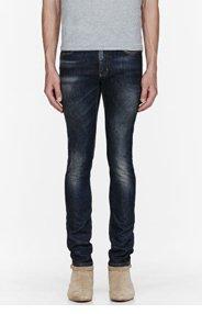 SAINT LAURENT Blue faded 15.5cm skinny jeans for men