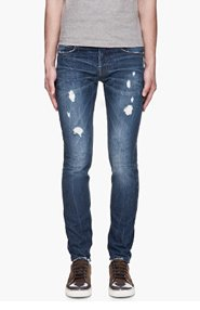 MCQ ALEXANDER MCQUEEN Washed indigo distressed skinny jeans for men