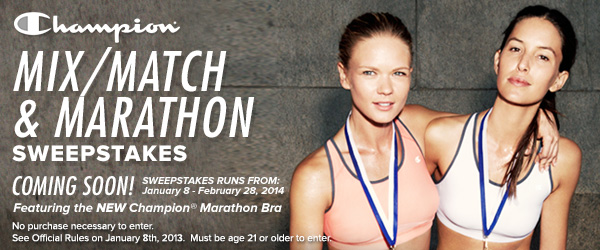Champion(R) Mix/Match & Marathon Sweepstakes Coming Soon