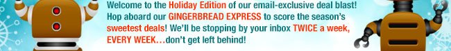 welcome to hliday edition of our email-exclusive deal blast! hop aboard our gingerbread express to score the season's sweetest deals! we'll be stopping by your inbox twice a week, every week ... dont get left behind!