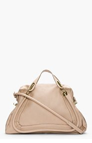 CHLOE Beige pebbled leather Large Paraty Bag for women