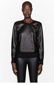 HELMUT LANG Black leather & wool sweatshirt for women