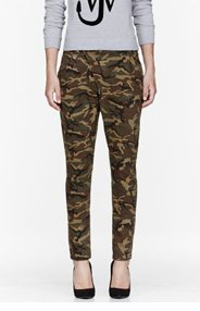 R13 Khaki Camouflage X-Over Jeans for women