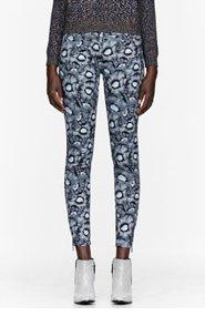 KENZO Grey Stretch Denim Poppy Print Jeans for women