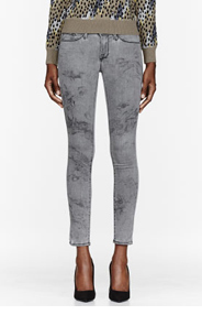 FRAME DENIM Grey Marbled Le Luxe Noir Skinny de Jeanne Jeans for women