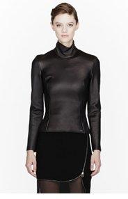 ALTUZARRA Black Leather Holland turtleneck blouse for women