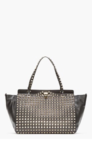 VALENTINO Black Studded Leather Rockstud Tote for women