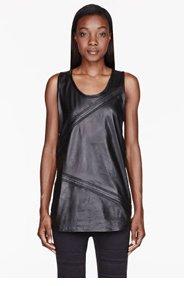 EN NOIR Black Leather Pin Tuck Tank Top for women