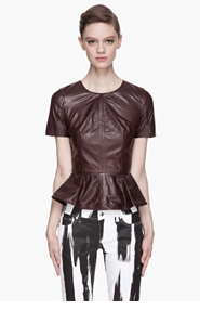 MCQ ALEXANDER MCQUEEN Deep burgundy goat Leather Peplum Blouse for women