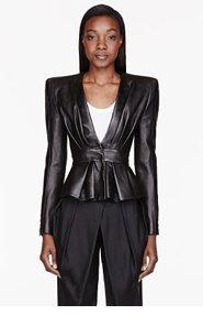 BALMAIN Black Leather Gathered Blouse for women