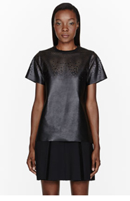 PROENZA SCHOULER Black Leather perforated T-Shirt for women
