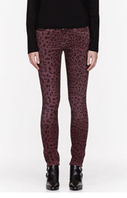 CURRENT/ELLIOTT Burgundy Corduroy Leopard Skinny Jeans for women