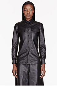 YANG LI Black & Burgundy knit-back leather shirt for women