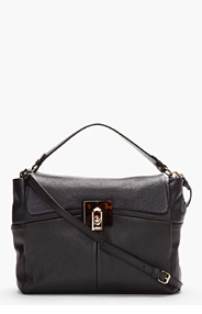 LANVIN Midnight Blue Leather For Me Double Carry Shoulder Bag for women