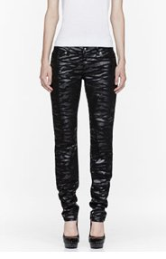 MCQ ALEXANDER MCQUEEN Black Skinny Tiger Print Jeans for women