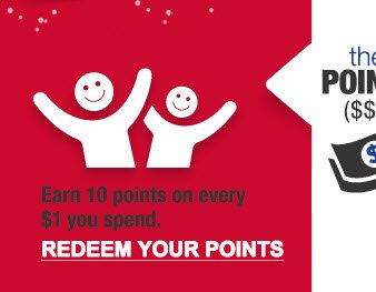 the POINTS ($$): Earn 10 points on every $1 you spend. | REDEEM YOUR POINTS