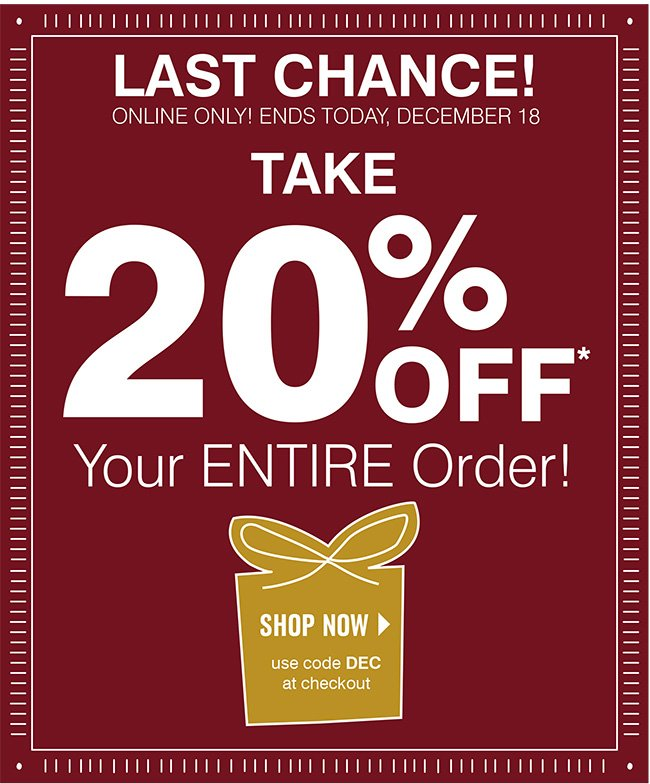 20% off Entire Order