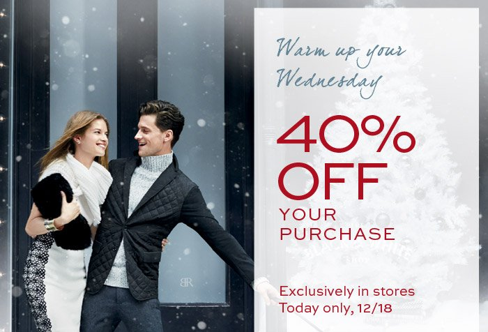 Warm up your Wednesday | 40% OFF YOUR PURCHASE