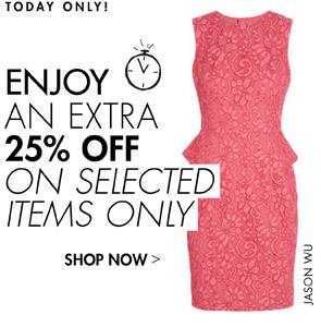 EXTRA 25% OFF SELECTED LINES